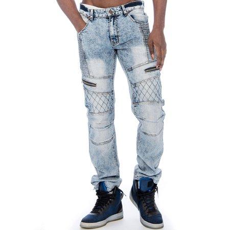 Crown Jeans (Men's Distressed Stretch Slim Fit Moto Denim Jeans 9)