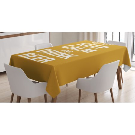 Rectangular Amber Ring - Keep Calm Tablecloth, Drink Beer Poster Design with Graphic Foamy Glasses Leisure Time Fun Pub Print, Rectangular Table Cover for Dining Room Kitchen, 52 X 70 Inches, Amber White, by Ambesonne
