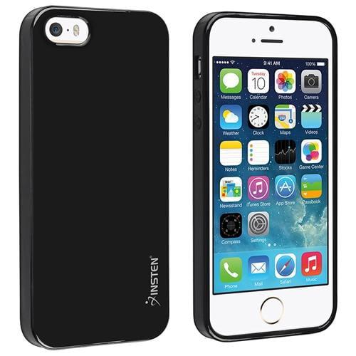 Insten TPU Rubber Skin Case For Apple iPhone SE / 5 / 5s, Black Jelly