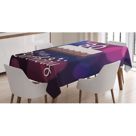 80th Birthday Decorations Tablecloth Abstract Backdrop With Party Cake And Candles Rectangular Table