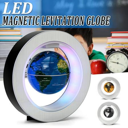 4'' Magnetic Levitation Floating Rotating Globe Map LED Light World Map Home Office Desktop Decoration Crafts Fashion Kid Birthday Christmas Gift - World Globe Decorations