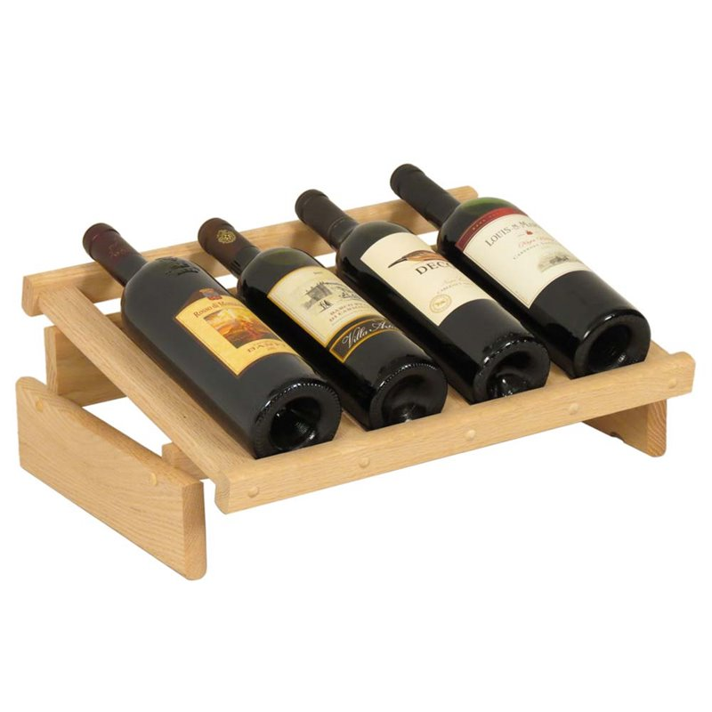 Wooden Mallet Dakota 1 Tier 4 Bottle Display Top Wine Rack in Natural