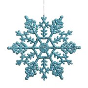 """4"""" Glitter Snowflake Hanging Pendants Ornaments for New Year Christmas Tree Home Party Decoration, 24Pcs/Pack Color:Red"""