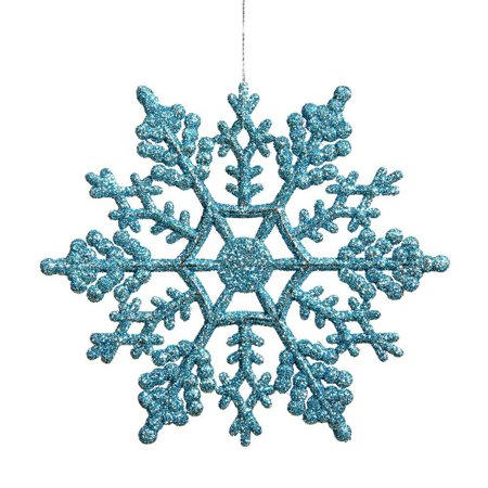Christmas Party Home Holiday Decoration Plastic Glitter Snowflake 4-Inch Light blue 24 Per Box (Plastic Snow Flakes)