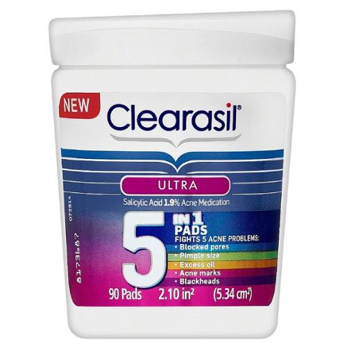 Clearasil Ultra 5-in-1 Acne Medication Pads 90 ea (Pack of 2)