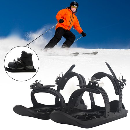 Portable Skiing Shoes Mini Ski Skates with Adjustable Bindings for Outdoor Winter Sports Equipment