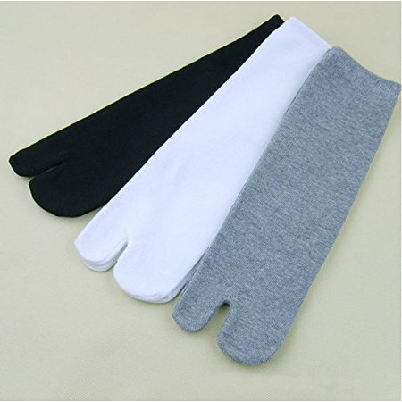 Split Toe Socks - 3 Pair Unisex Kimono Style Flip Flop Sandal Crew Socks Split Toe Tabi Socks for Adult (Black + White + Gray)