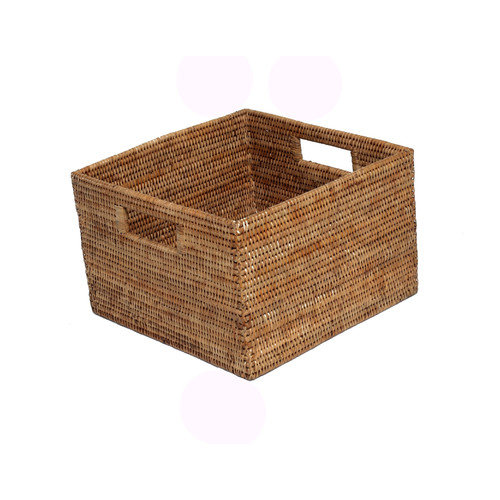 artifacts trading Rattan Square Basket with Cutout Handles