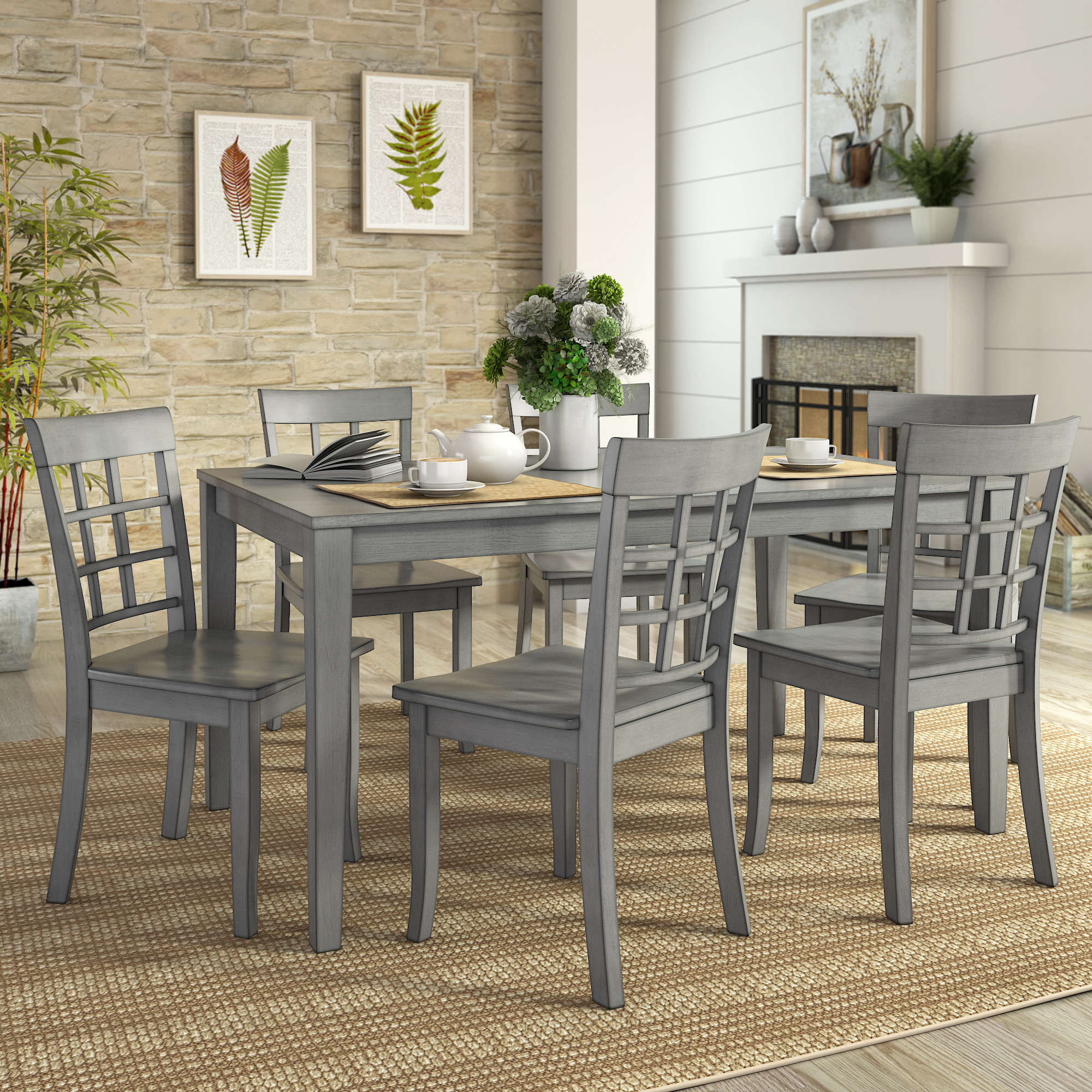 Lexington Large Dining Set with 6 Window Back Chairs
