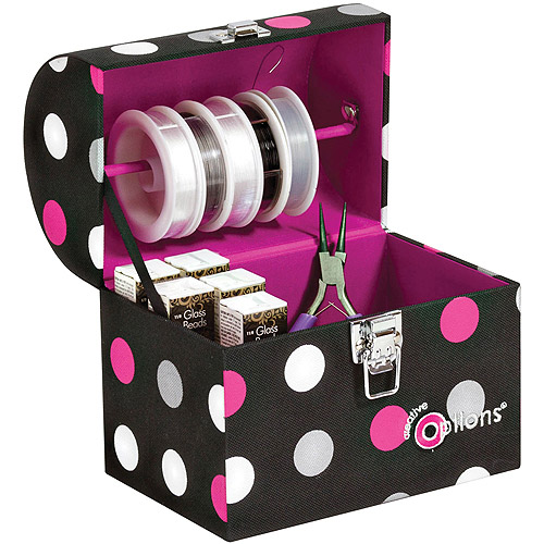 "Creative Options Treasure Trunk 6.875""X5""X7.875""-Black/Magenta/Silver"