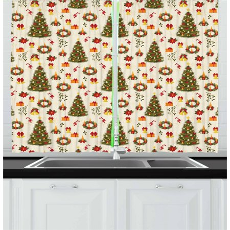 Christmas Curtains 2 Panels Set, Fir Tree Garland and Bells Festive Ornaments Xmas Themed Cartoon Seasonal Holiday, Window Drapes for Living Room Bedroom, 55W X 39L Inches, Multicolor, by - Seasonal Themes