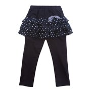 Richie House Girls' Midnight Blue Lacy Skirt Pants with Bow RH0314