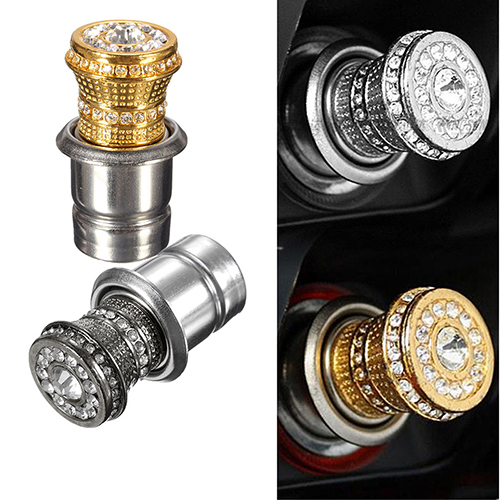 Girl12Queen Bling Rhinestone Inlaid Auto Car Iron Cigarette Socket Lighter 12V Luxury Lgnition