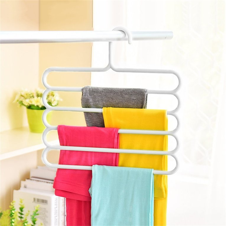 Anti Slip Magic Multiple Layer Trousers Hanger Multifunction Pants Closet  Belt Holder Rack S