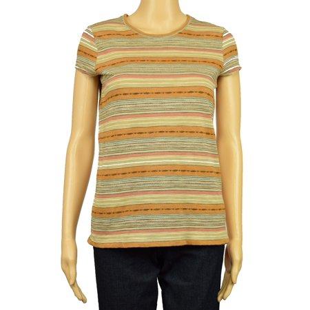 Lauren Ralph Lauren NEW Brown Womens Size Small S Striped Tee T-Shirt