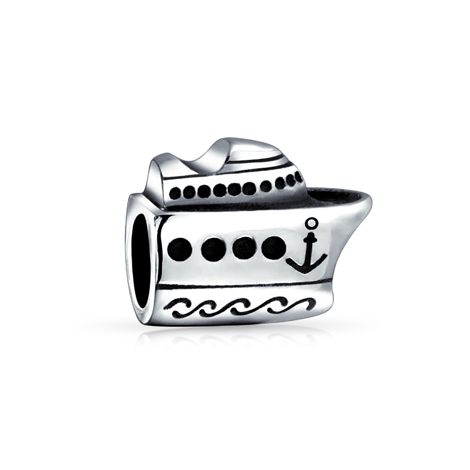 Princess Kylie Oxidized Sterling Silver Beaded Wave Designer Ring