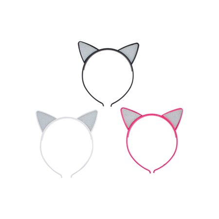 Lux Accessories Black White Pink Cat Ears Silver Glitters Set of 3 Headbands](White Cat Ears)