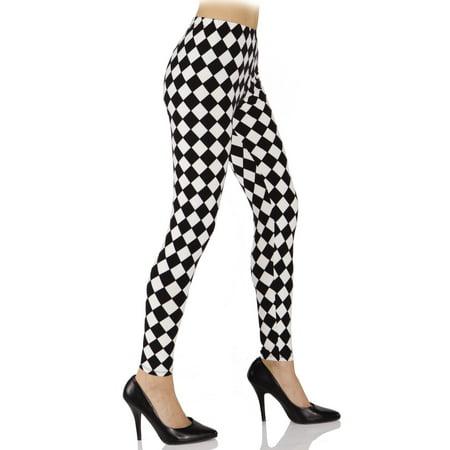 Harlequin Womens Adult Evil Jester Costume Tight Leggings-Xs