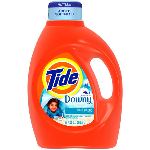 Tide 2x Ultra With A Touch Of Downy Liquid Laundry Detergent, Clean Breeze, 100 fl oz