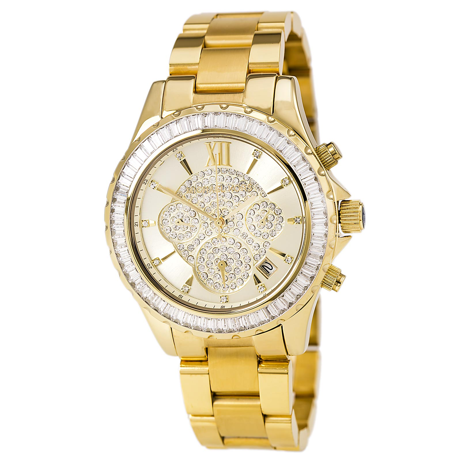 Michael Kors MK5810 Women's Crystal Gold Dial Gold Plated...