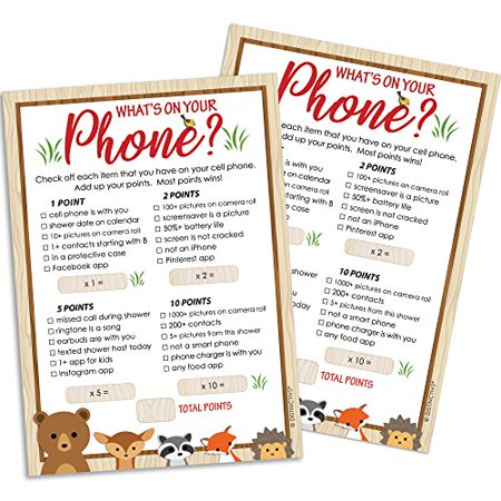 Woodland Baby Shower Game for 20 Guests - What's On Your Phone Woodland Creatures Animals Theme Baby Shower Supplies - 20 Game Cards - Paris Theme Baby Shower