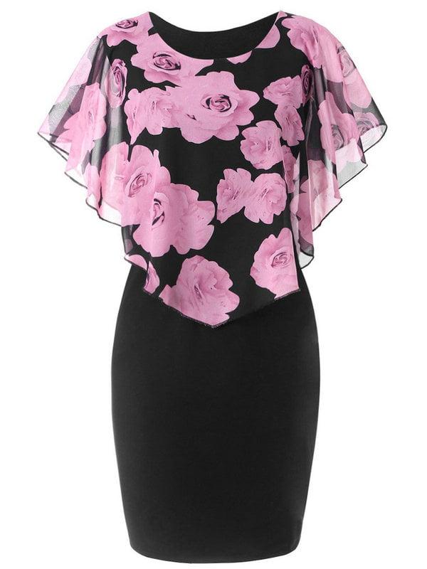 AKFashion Women's Plus Size Floral Printing Shawl Round Neck Sleeveless Bodycon Midi Dress