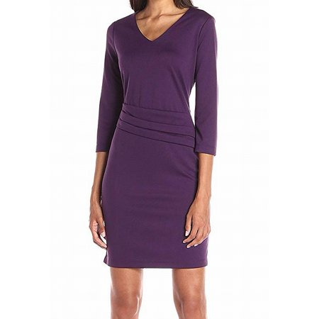 Womens V-Neck Ponte Solid Sheath Dress $70 16