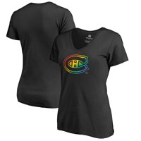 Montreal Canadiens Fanatics Branded Women's Rainbow Pride V-Neck T-Shirt - Black