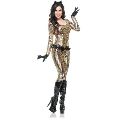 Women's Metallic Tigress Jumper With Belt and Gloves Costume
