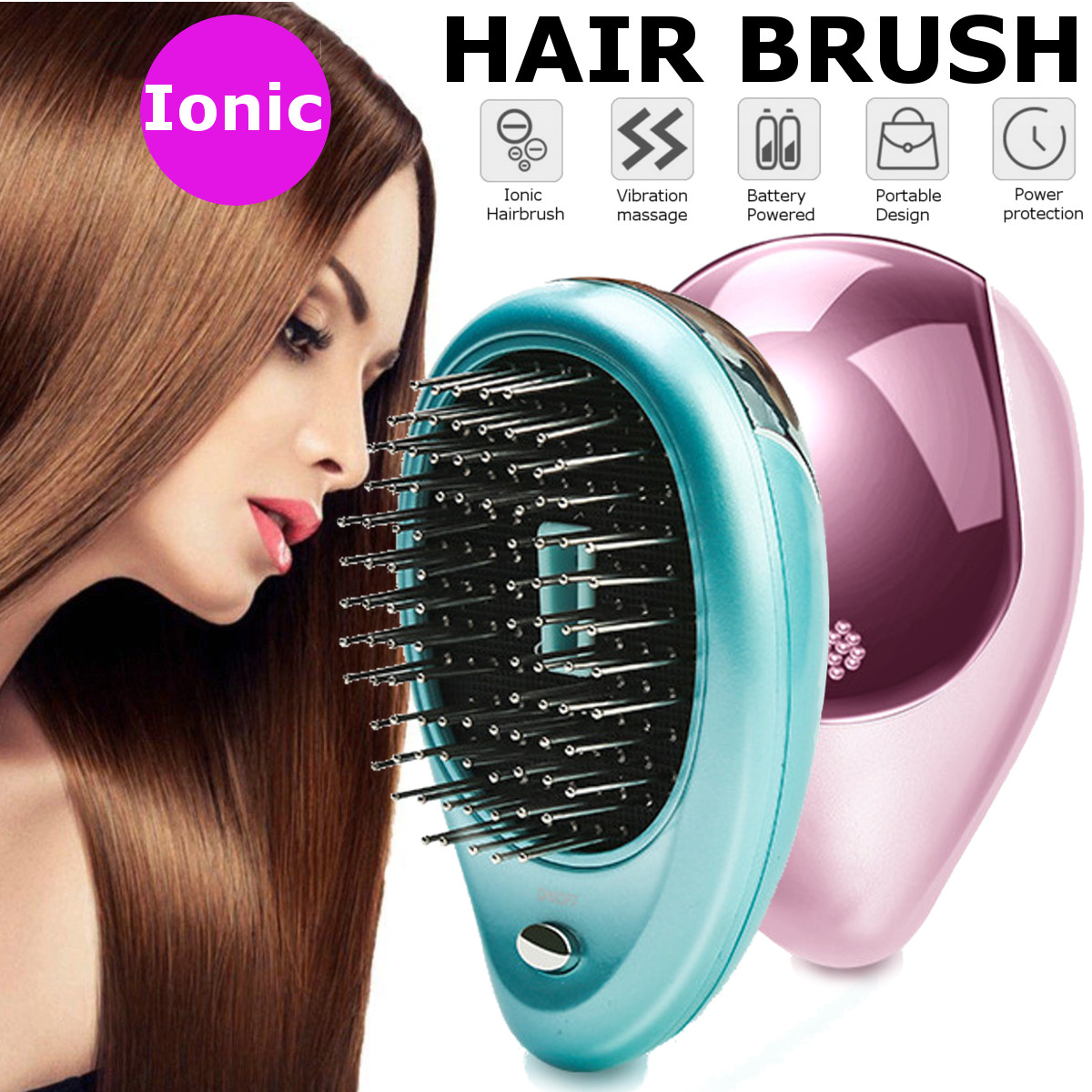 Portable Electric Ionic Hair Brush Straightener, Negative Ion Brush Comb with Vibration Massage Function, Battery Operated