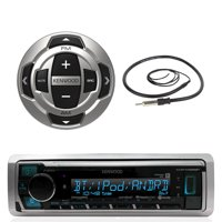 "Kenwood Marine Boat Yacht Digital Media USB AUX Bluetooth Stereo Receiver (No CD), Kenwood Wired Remote, 22"" Enrock AM/FM Antenna"