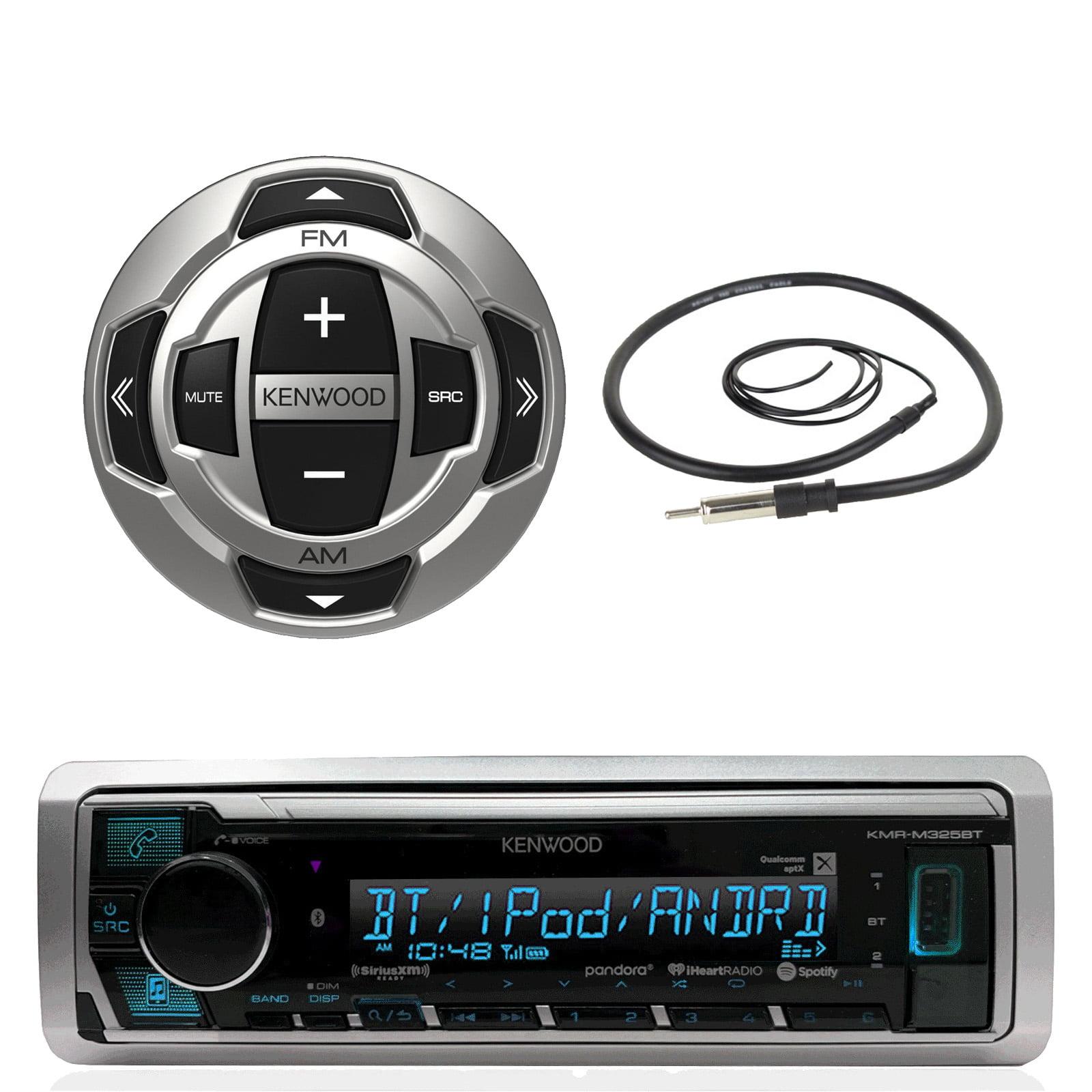 "Kenwood Marine Boat Yacht Digital Media USB AUX Bluetooth Stereo Receiver (No CD), Kenwood Wired Remote, 22"" Enrock AM/FM Antenna"