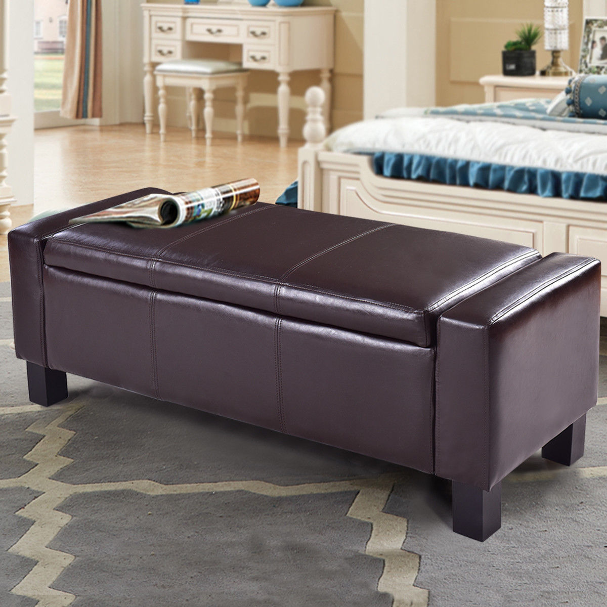 PU Leather Ottoman Bench Storage Chest Footstool Organizer Chair Furniture Brown