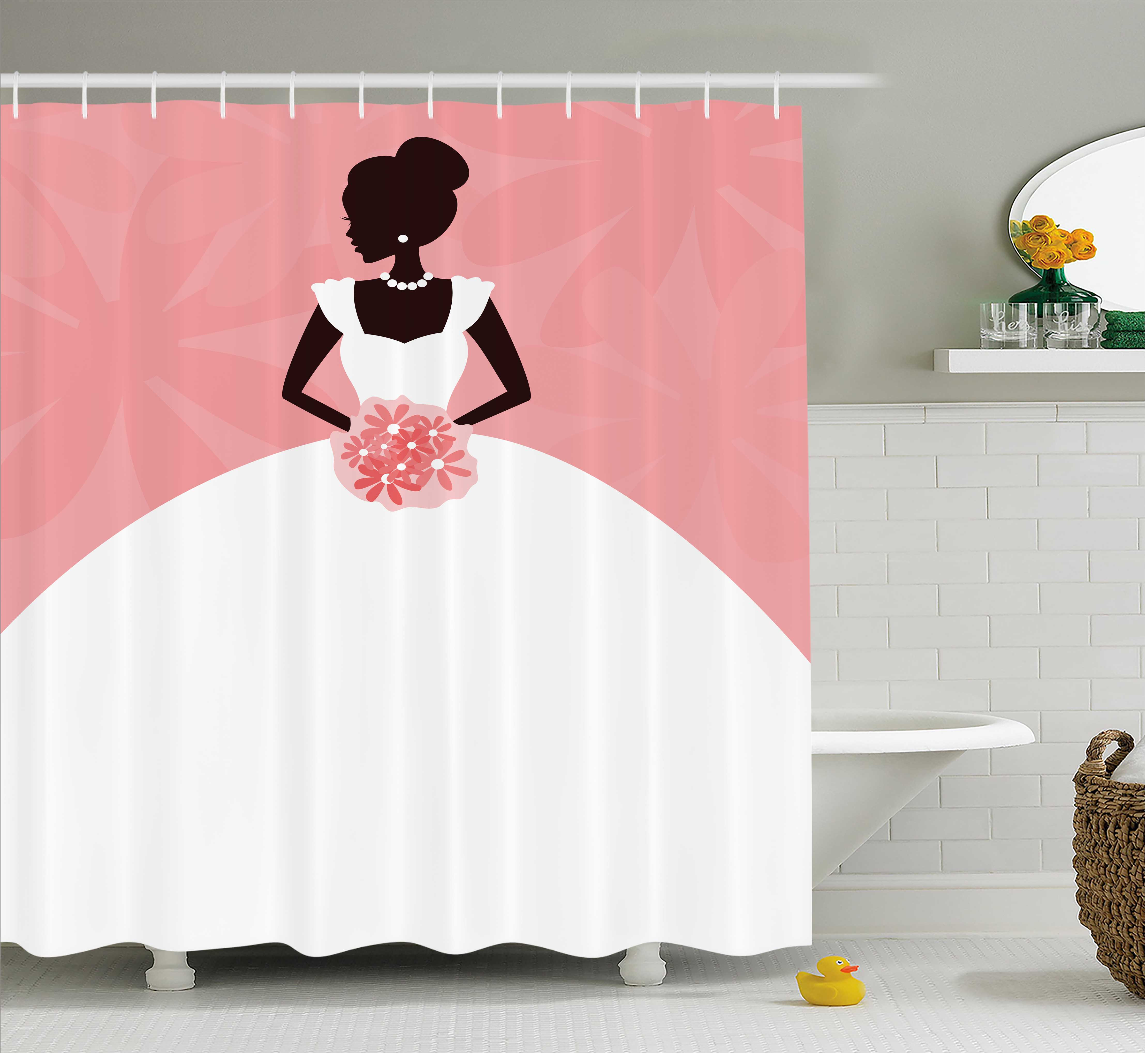Bridal Shower Decorations Shower Curtain, Wedding Dress w...