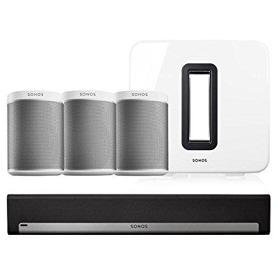 Sonos PLAY:1 Wireless Speakers - Set of 3 w/ PLAYBAR Wireless Soundbar & SUB