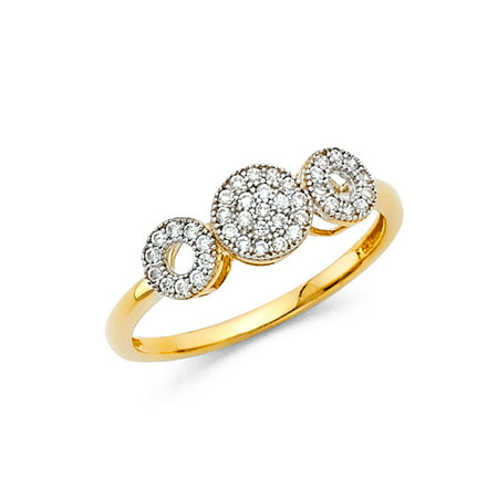 Jewels By Lux 14K Gold Circle Cubic Zirconia CZ Fashion Anniversary Ring Size 7