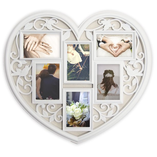 Joice Gift White Wall Large Hanging Heart Shape Collage Picture Frame 6 Opening 4 X 6 Walmart Com Walmart Com