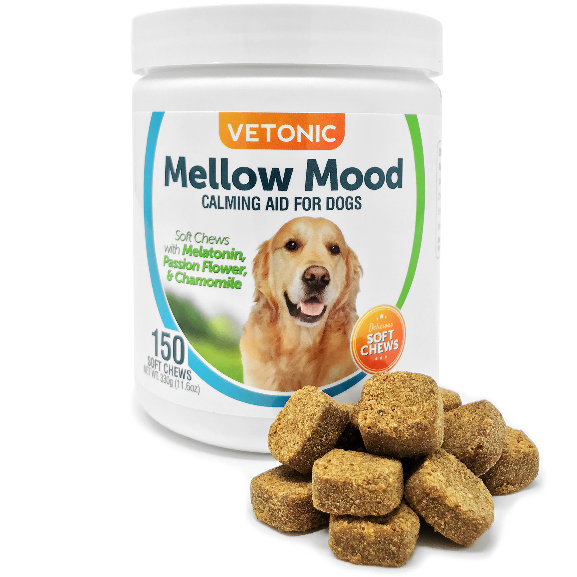 Mellow Mood Calming Aid for Dogs with Separation Anxiety and Stress, 150 Soft Chews