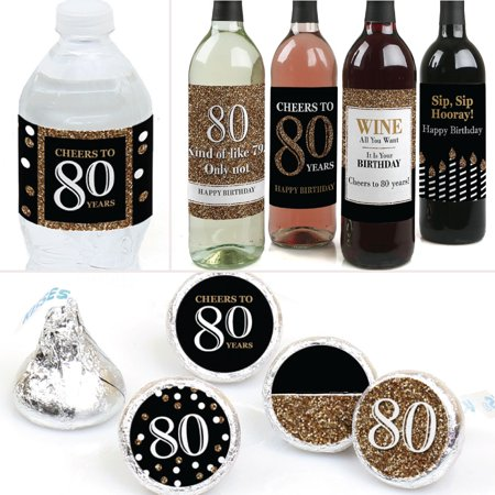 Adult 80th Birthday - Gold - Birthday Party Decorations & Favors Kit - Wine, Water and Candy Labels Trio Sticker Set