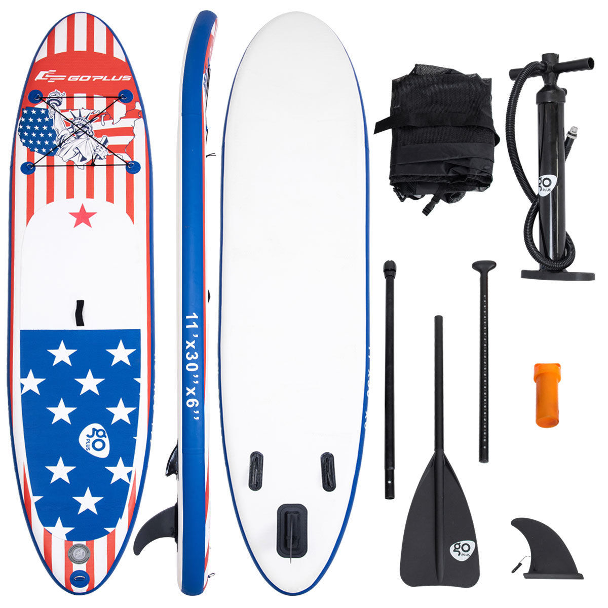 Goplus 11' Inflatable Stand Up Paddle Board SUP W  Fin Adjustable Paddle Backpack Sport by Costway