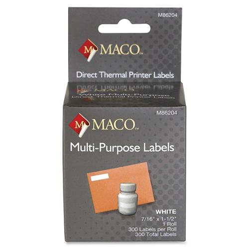 "Maco Direct Thermal Printer Labels - 0.44"" Width X 1.50"" Length - 1 / Box - 300/roll - Direct Thermal - Bright White (M86204)"