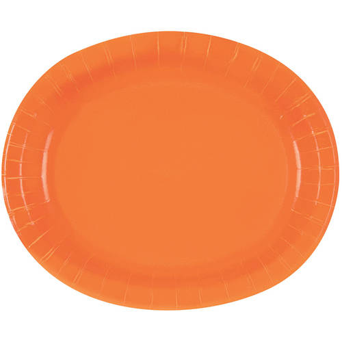 Oval Paper Plates, 12 in, Orange, 8ct