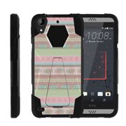 HTC Desire 530 | Desire 630 Shock Fusion Heavy Duty Dual Layer Kickstand Case -  Hearts and Flowers Tribal Pattern