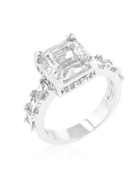 Genuine Rhodium Plated Asscher Cut Engagement Ring Featuring Round Cut Accent Stones in Silvertone - Size 5
