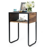 Gymax Side Table Industrial Coffee Table w/Metal Frame Rustic End Table Nightstand