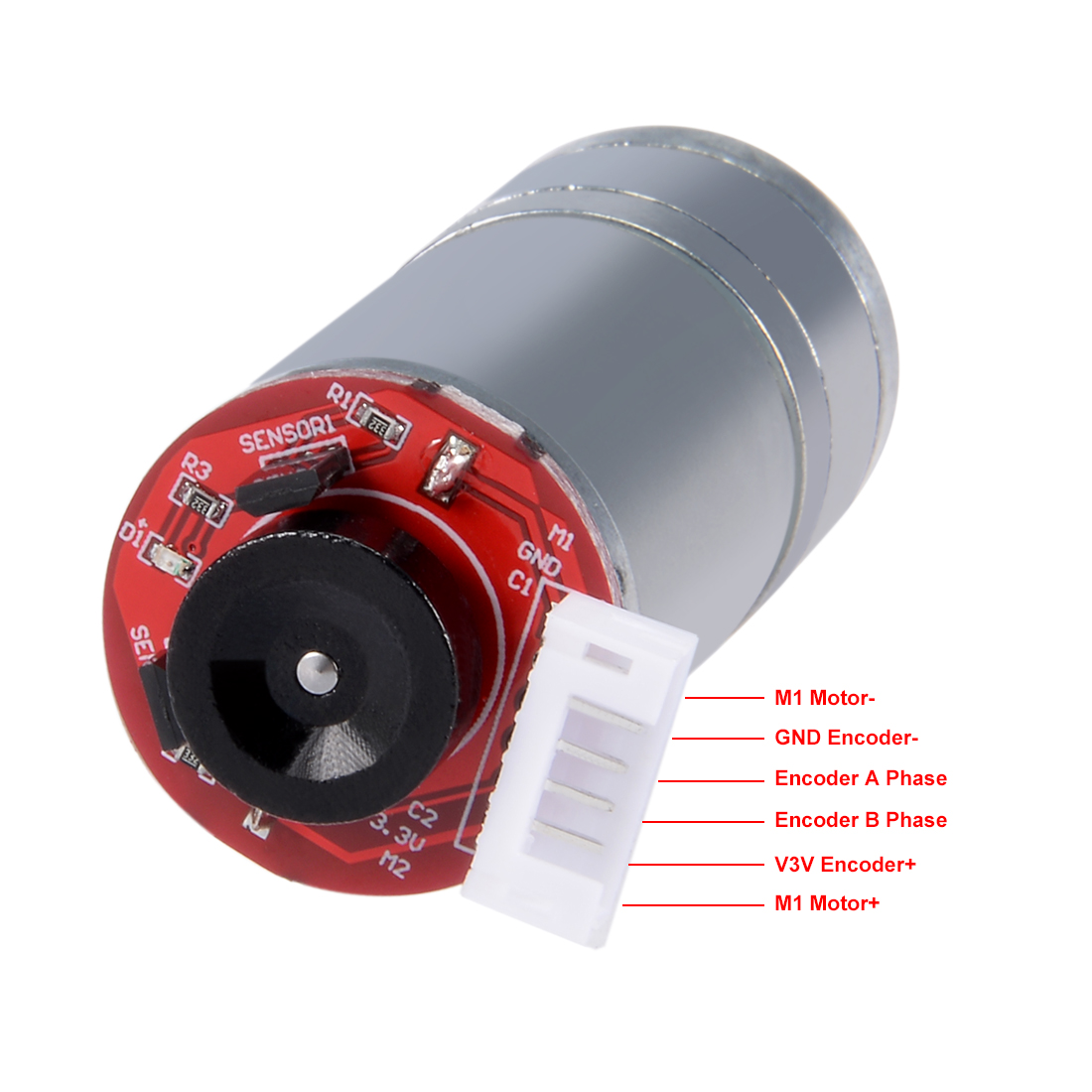 1Set GM25-370 DC 12V 350RPM D Shape Shaft  6 Wire Gear Motor w Encoder and Wheel - image 2 of 5