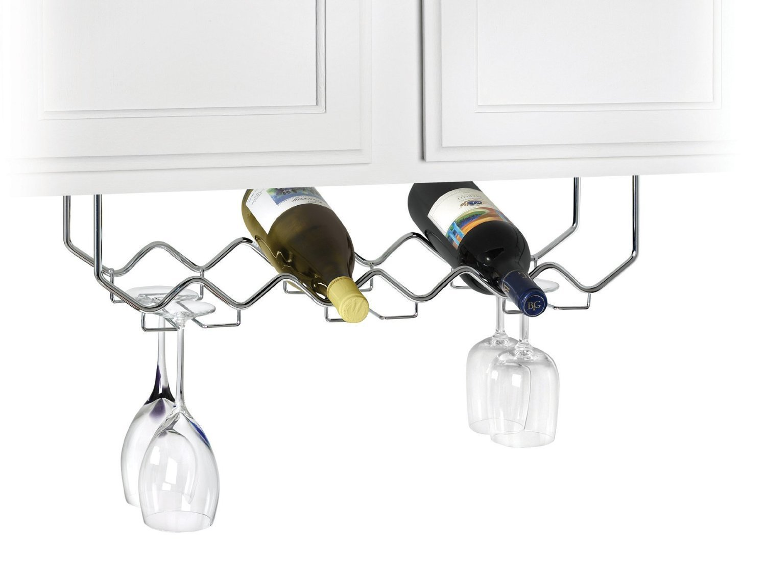 Under Cabinet Stemware Holder and Wine Rack Holds 6 Bottles 6 Stems Chrome by Useful.