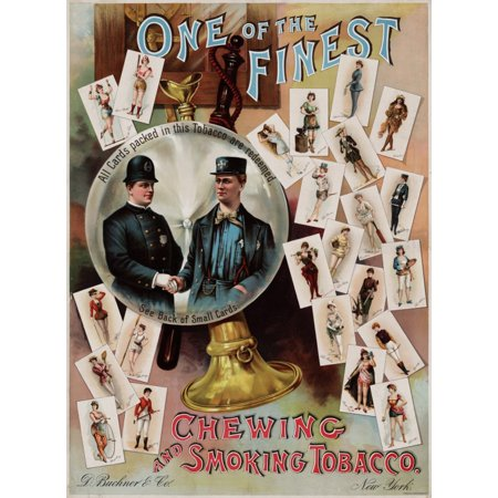 Chewing And Smoking Tobacco Cards 1890 Vintage Canvas Art - (36 x 54)