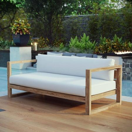 Modway Upland Outdoor Patio Teak Sofa in Natural (Outdoor Teak Sofa)