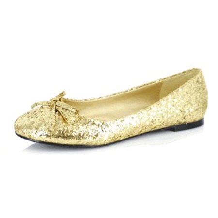016- MILA-G, Womens Glitter Flats With Bow - Glitter Flats With Bow